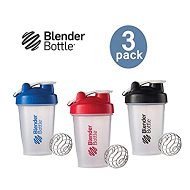 Blender Bottle with Shaker Ball 20 Oz, Pack of 3 (Blue, Red, Black)