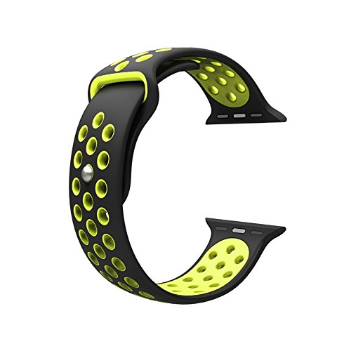 Photo - For Apple Watch Band, Wearlizer Soft Silicone Sport Replacement Strap for both Series 1 and Series 2 - 42mm Black and Yellow