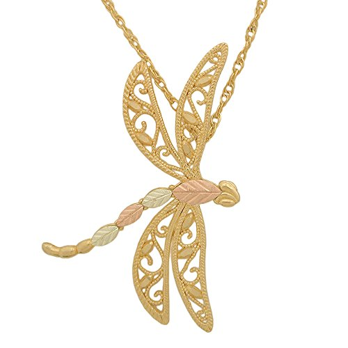 Dragonfly Pendant Necklace, 10k Yellow Gold, 12k Green, Rose Gold Black Hills, 18'' by Black Hills Gold Jewelry
