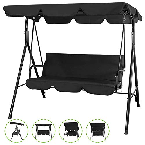 Flex HQ Patio Porch Swing Chair Canopy Outdoor Lounge 3-Person Seat Hang Bench Hammock Black