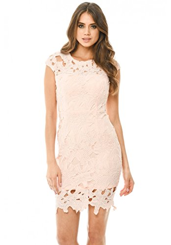 AX Paris Women's Capped Crochet Dress with Short Sleeves(Pink, Size:6)