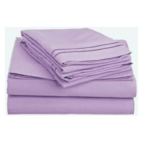 Cheap Laxlinen 350 Thread Count 100% Egyptian Cotton Super Quality 1PC Flat Sheet(Top Sheet) Three Quarter/Small Double, Lavender/Lilac Solid for cheap