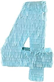 Baby Blue Number Four (4) Pinata | Piñata | Beautiful Decoration for Fourth Birthday Party Center Piece and Photo Prop