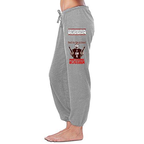 YOUARN Women's FPS Russia-Professional Russian Logo Workout Pants Ash (Uts Hockey)