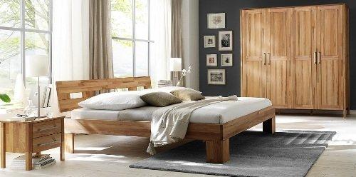 3-3-2-2153: schönes Schlafzimmerprogramm AAS - Kernbuche vollmassiv geölt - Kleiderschrank 4-trg., Doppelbett 180x200cm LF, 2 Nachtkonsolen