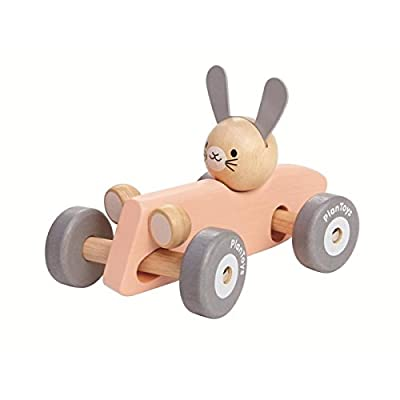 PlanToys Wooden Bunny Rabbit Racing Car with Vintage Car Theme (5717) | Pastel Color Collection |Sustainably Made from Rubberwood and Non-Toxic Paints and Dyes: Toys & Games