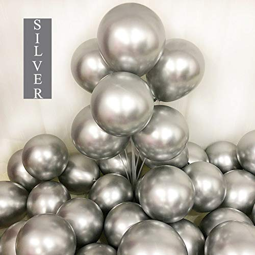 Chrome Silver Balloons 12inch 50 Pcs Latex Metallic Party Balloons Helium Balloons Party Decoration Balloons Compatible Birthday Baby Shower Party - Metallic Silver by Brontothere ()