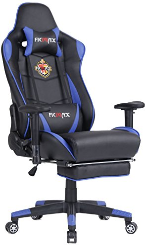 Ficmax Swivel Gaming Chair Ergonomic Racing Style PU Leather Office Chair with Lumbar Massage Support and Retractable Footrest (Blue/Black)