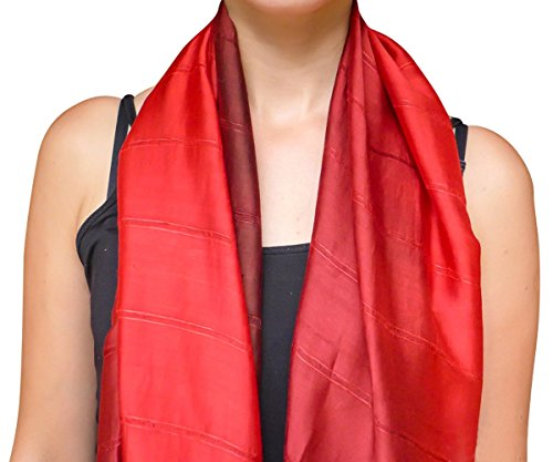 (Unique Wrappable Silk Scarf. Handmade Blue Silk Scarves Wrap (Red))