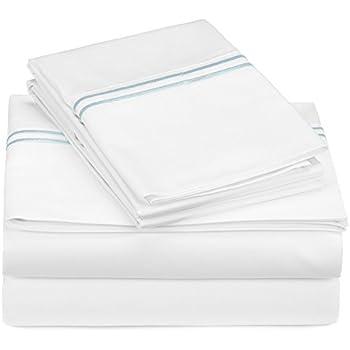 Pinzon 400-Thread-Count Egyptian Cotton Sateen Hotel Stitch Sheet Set - Full, Silver Blue