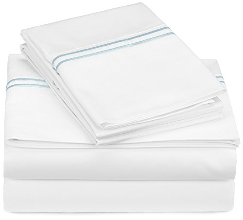 Pinzon 400-Thread-Count Egyptian Cotton Sateen Hotel Stitch Sheet Set - California King, Silver Blue
