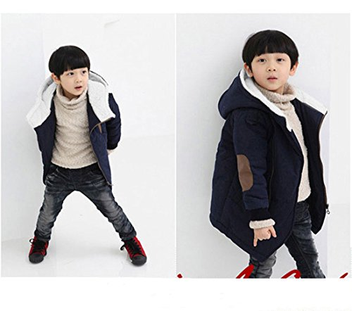 Wool Gaorui Jacket Faux Fur Red Down Hooded Inside Warm Winter Outerwear Boys' Thick Coat Coat xr0qXp0Pw