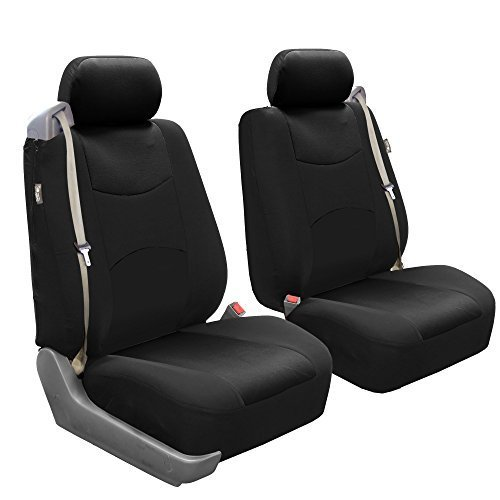 FH Group FB351BLACK102 Black Flat Cloth Front Low Back Seat Cover, Set of 2 (Built-in Seatbelt ()