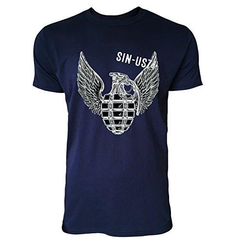 SINUS ART® Handgranate mit Flügeln im Tattoo Stil Herren T-Shirts in Navy Blau Fun Shirt mit tollen Aufdruck