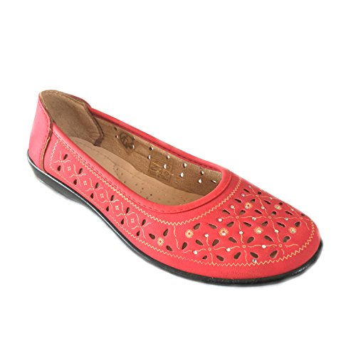Scandi- Damen Schuh Slipper, Ballerinas Schuhe-Rot Größe 36-41Neu Rot