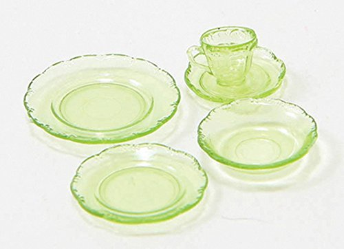 Dollhouse Miniature Chrysnbon 5 Piece Dish Set in Green Depression Glass