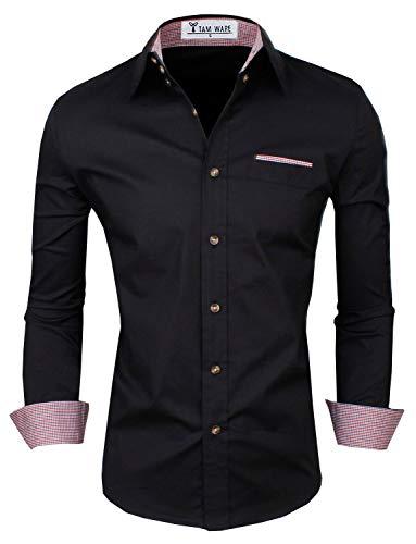 TAM WARE Mens Premium Casual Inner Contrast Dress Shirt TWNMS315S-BLACK-3XL (US XL/XXL)