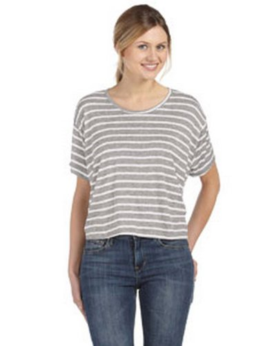 Bella B8881 Ladies Boxy T-Shirt - Str Athletic Heather/White - - Boxy Sheer