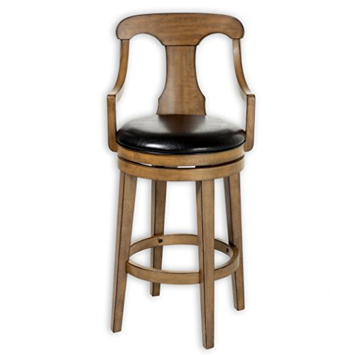 Fashion Bed Group Albany Swivel Seat Bar Stool with Acorn Finished Wood Frame, Sloped Arms and Black Faux Leather Upholstery, 30-Inch Seat Height