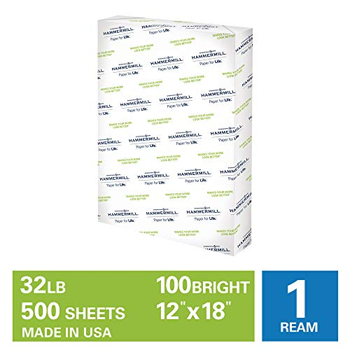 Hammermill Premium Color Copy 28lb Copy Paper, 12 x18, 1 Ream, 500 Sheets, Made in USA, Sustainably Sourced From American Family Tree Farms, 100 Bright, Acid Free, Color Copy Printer Paper, 1106125R