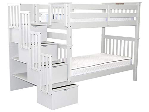 Bedz King Tall Stairway Bunk Beds Twin over Twin with 4 Drawers in the Steps, White ()