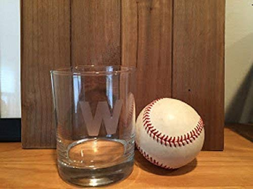 (Chicago W Glass - Chicago Cubbies W Rocks Glass - Win - Wrigley - 14oz Double Rocks Glass - Chicago - Illinois - Chicago Whisky - Barware - Bourbon - Chicago Gift - Flat shipping rate up to 4 Glasses)