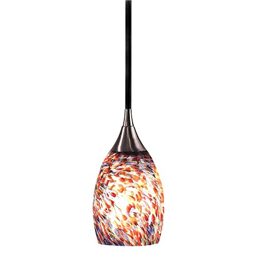 Pendant Confetti Glass (Kenroy Home 44301BS-CONF Medici Mini-Pendant with Confetti Glass Shade, Brushed Steel)