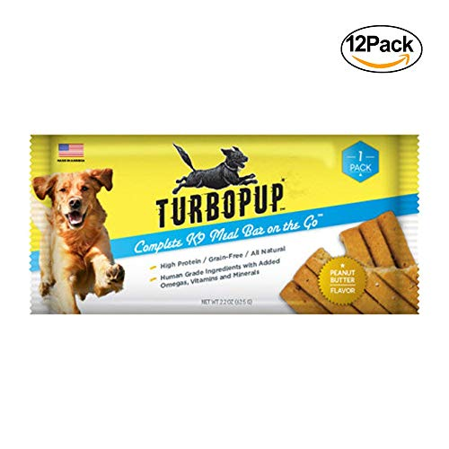 Turbopup Complete Meal Replacement Bars For Dogs In Peanut Butter Flavor, 12 Pack | Best Dog Food Bars