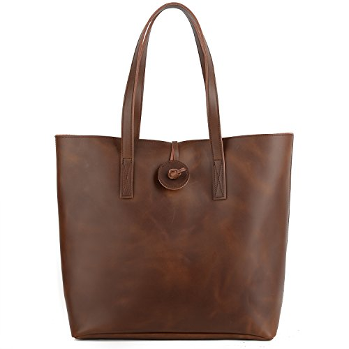 YALUXE Women's Crazy Horse Leather Tote Shoulder Bag with Removable Pouch (Upgraded 2.0) (Brown Shopper Tote)