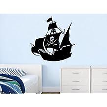 Wall Decal Vinyl Sticker Decals Art Decor Design Pirates Ship Skull Guns Sail Boat Kids Anchor Children Funny Nursery Beedroom Gift (r683)