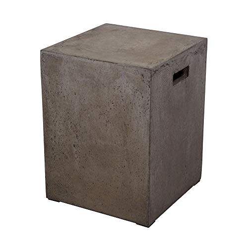"Dimond Home 157-004 Cubo Square Handled Concrete Stool, 14"" x 14"" x 18"""