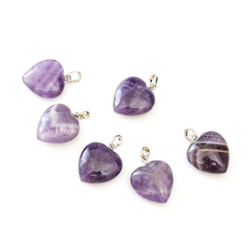 - 8pcs Natural Amethyst Gemstone Heart Pendant Healing Crystals Chakra Gem Stones Rock Crystal Quartz for Jewelry Craft Making G2P17-8