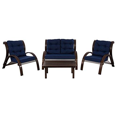 Vivere Kawartha Lakes Four Piece Set, Navy (Larch Furniture Outdoor Wood)