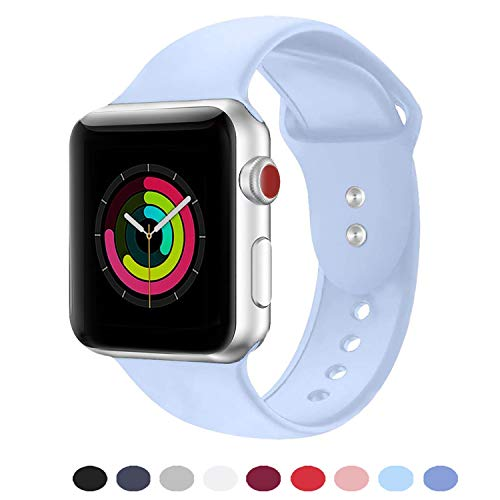 DOBSTFY Sport Band 38mm 40mm 42mm 44mm,Soft Silicone Sport Band Replacement Wristband Compatible for iWatch Series 1/2/3/4, Ni ke+, Sport, Edition, 38mm 40mm S/M, Light Blue