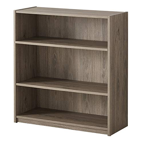 Mainstay Easy to Assemble, Contemporary Style, 3-Shelf Wood Bookcase, Multiple Colors, (Rustic Oak)