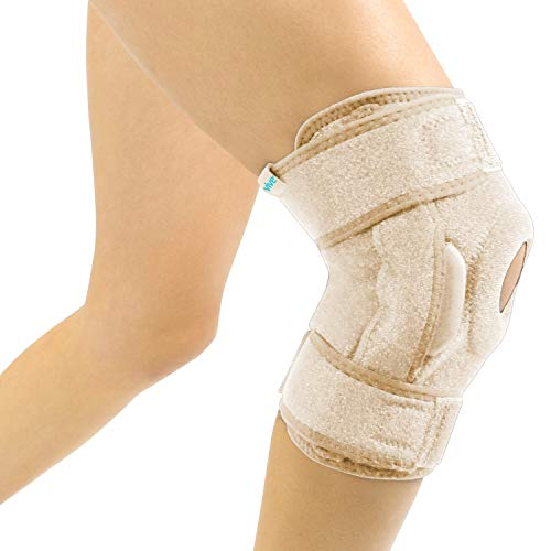 Vive Hinged Knee Brace - Open Patella Support Wrap for Women, Men - Compression for ACL, MCL, Torn Meniscus Ligament and Tendonitis - for Running, Athletic Tear, Arthritis Joint - Adjustable Strap