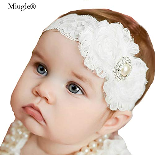 Miugle Baby Christening Headbands Baby Girl Baptism Headbands with Bows