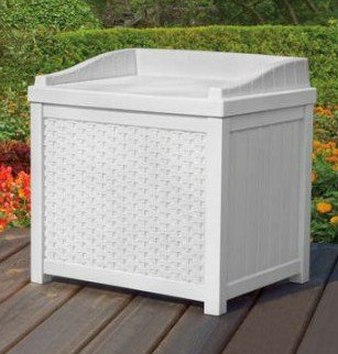 Deck Box, Patio Storage - Small, 2.9 Cu.Ft., 22 Gal., Resin, Color White