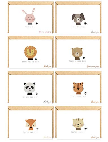Animal Thank You Cards for Boy & Girl | Bulk Set by THE BOHO KIDS | 40 Note Cards 6x4