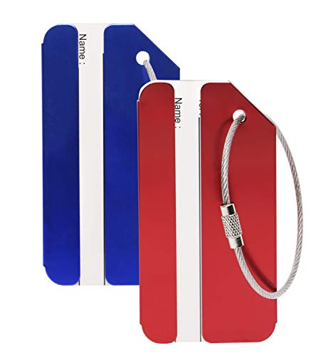 PENTA ANGEL 2Pcs Red/Blue Aluminum Luggage Tags Holders with Name ID Card- Travel Baggage Labels for Suitcase School Bag Identification for Men and Women