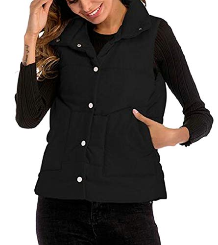Lightweight Jacket Quilted Puffer Zip security Black up Outerwear Womens Casual Vest q8XtqnFSw