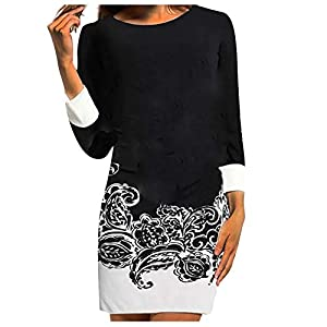 Celucke T Shirt Dress for Women, Vintage Loose Fit Round Neck Bohomian Casual Long Sleeve Tunic Tops Mini Dresses