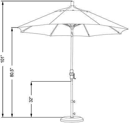 California Umbrella 9 Round Aluminum Pole Fiberglass Rib Market Umbrella