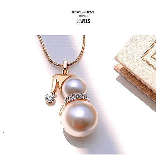 Cute snowman pendant long necklace for women pearl jewelry santa cute snowman pendant aloadofball Image collections