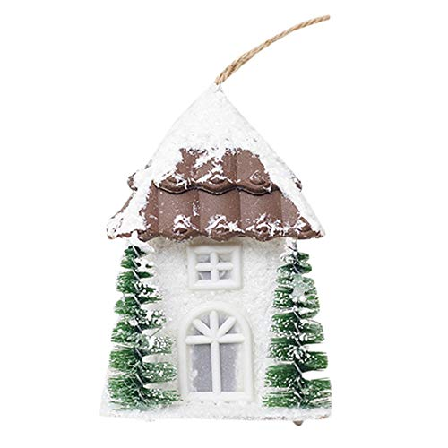 (Hot Sale!DEESEE(TM))❦❦Wood House Christmas Pendant Tree Decorations Ornaments Luminous Cabin House (Brown))