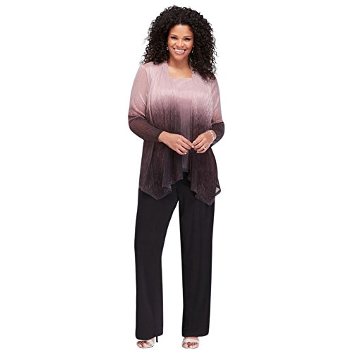 David's Bridal Crinkled Ombre Plus Size Three-Piece Pantsuit Style 950136, Black, 24W
