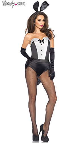 Leg Avenue Women's 3 Piece Classic Bunny Costume, Black/White, Medium ()