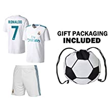 JerzeHero Real Madrid Cristiano Ronaldo Jersey #7 Youth OR Adult Soccer Gift Set ✓ Ronaldo Soccer Jersey ✓ Shorts ✓ Soccer Backpack ✓ Home or Away