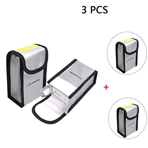 Yifant Fireproof Explosion-Proof Lipo Battery Safe Bag Lipo Battery Guard Pouch Sack Charge Protection Bag for DJI Phantom 3/4(Silver Colour) (3 PCS)