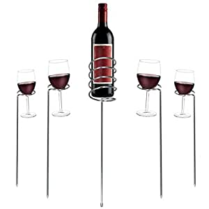 Outdoor Expression Stainless Steel Wine Glass and Bottle Holder - 5 Piece